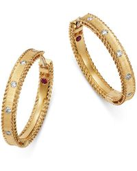 Roberto Coin - 18k Yellow Gold Diamond Princess Diamond Hoop Earrings - Lyst