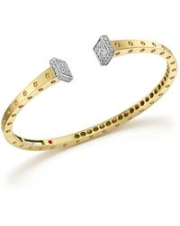 Roberto Coin - 18k White And Yellow Gold Pois Moi Chiodo Bangle With Diamonds - Lyst