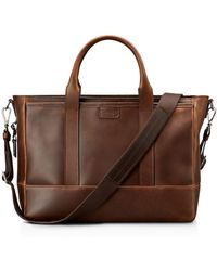 Shinola - Navigator Distressed Leather Briefcase Tote - Lyst