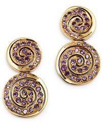 Shebee - 14k Yellow Gold Amethyst Spiral Drop Earrings - Lyst