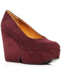 Clergerie - Women's Blandine Suede Platform Wedge Court Shoes - Lyst