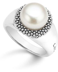 Lagos - Sterling Silver Luna Cultured Freshwater Pearl Caviar Bezel Ring - Lyst