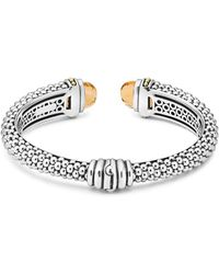 Lagos - Sterling Silver & 18k Yellow Gold Caviar Cuff Bracelet With Citrine - Lyst