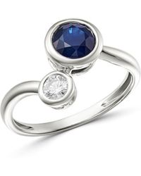 Bloomingdale's - Blue Sapphire & Diamond Bezel Set Bypass Ring In 14k White Gold - Lyst