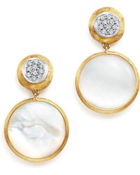 Marco Bicego - 18k Yellow Gold Jaipur Mother-of-pearl And Diamond Drop Earrings - Lyst