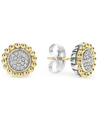 Lagos - Sterling Silver And 18k Gold Caviar Stud Earrings With Diamonds - Lyst