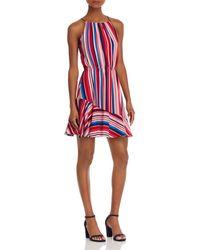 Aqua - Flounce-hem Striped Dress - Lyst