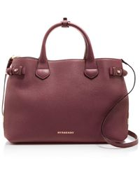 Burberry - Banner House Check Medium Leather Tote - Lyst