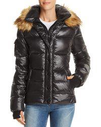 Aqua - Faux Fur-trim Puffer Jacket - Lyst