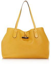 Longchamp - Roseau Essential Medium Leather Shoulder Tote - Lyst 7eb8933556a78