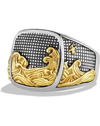 David Yurman - Waves Signet Ring With Gold - Lyst