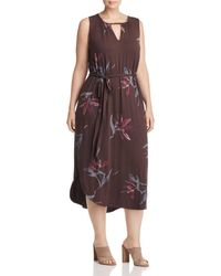 Lucky Brand - Printed Keyhole Midi Dress - Lyst