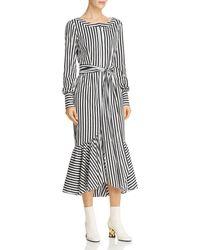 MILLY - Erica Striped Midi Dress - Lyst