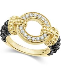 Lagos - Circle Game Black Caviar Ceramic Ring With Diamonds And 18k Gold - Lyst