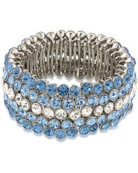 Carolee - Silver-tone Blue & Clear Crystal Stretch Bracelet - Lyst