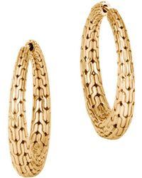 John Hardy - 18k Yellow Gold Classic Chain Graduated Medium Hoop Earrings - Lyst