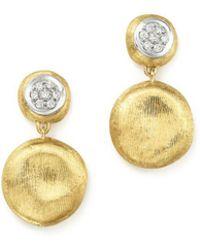 Marco Bicego - 18k White & Yellow Gold Diamond Pavé Jaipur Link Drop Earrings - Lyst