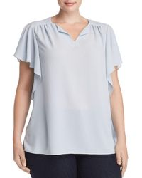 Vince Camuto Signature - Shirred Flutter-sleeve Top - Lyst