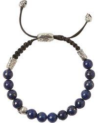 John Varvatos - Sterling Silver Skull & Lapis Bead Adjustable Bracelet - Lyst