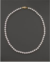 "Bloomingdale's - Cultured Akoya Pearl Necklace In 14k Yellow Gold, 18"" - Lyst"