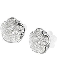Pasquale Bruni - 18k White Gold Pavé Diamond Floral Stud Earrings - Lyst