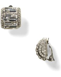 Carolee - Lux Crystal Button Clip - On Earrings - Lyst