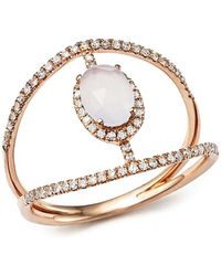 Meira T - 14k Rose Gold Chalcedony Cage Ring With Diamonds - Lyst
