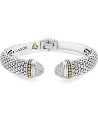 Lagos - 18k Gold And Sterling Silver Caviar And Diamonds Cuff - Lyst