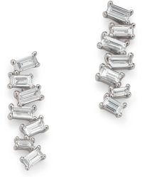 KC Designs - 14k White Gold Mosaic Diamond Baguette Bar Earrings - Lyst