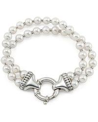 Lagos - Sterling Silver Luna 2 Strand Pearl Bracelet - Lyst
