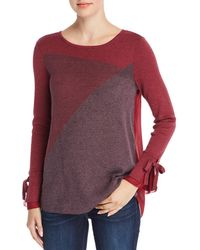 NIC+ZOE - Nic+zoe Mixed Media Colour Block Top - Lyst