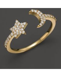 Meira T - 14k Yellow Gold Moon & Star Ring With Diamonds - Lyst