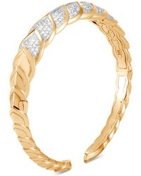 John Hardy - 18k Yellow Gold Legends Naga Pavé Diamond Small Kick Cuff - Lyst