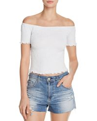 Aqua - Smocked Cropped Top - Lyst