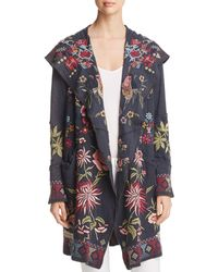 Johnny Was - Khan Embroidered Hooded Duster Cardigan - Lyst