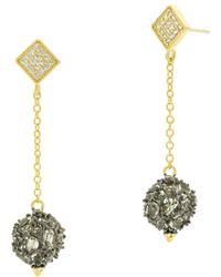 Freida Rothman - Rose D'or Pavé Cluster Ball Drop Earrings - Lyst