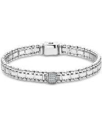 Lagos - Sterling Silver Caviar Spark Pavé Diamond Link Bracelet - Lyst