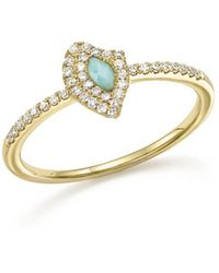 Meira T - 14k Yellow Gold Larimar Ring With Diamonds - Lyst