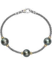 Lagos - 18k Gold And Sterling Silver Luna Cultured Freshwater Black Pearl Triple Station Bracelet - Lyst