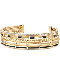 David Yurman - Stax Color Cuff With Diamonds & Black Spinel In 18k Gold - Lyst