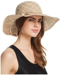 Aqua - Two-tone Patterned Straw Sun Hat - Lyst