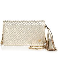 Tory Burch - Fleming Flat Leather Wallet Bag - Lyst