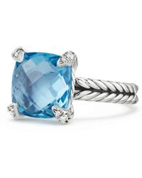 David Yurman - Châtelaine® Ring With Blue Topaz And Diamonds - Lyst