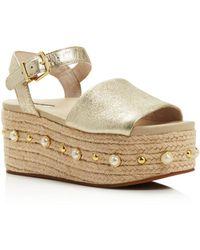 Kenneth Cole - Women's Indra Leather Embellished Espadrille Platform Wedge Sandals - Lyst
