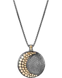 "John Hardy - Blackened Sterling Silver & 18k Bonded Gold Dot Hammered Moon Pendant Necklace, 36"" - Lyst"
