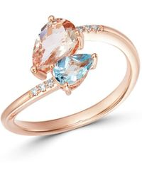 Bloomingdale's - Morganite & Aquamarine Pear Shaped Bypass Ring In 14k Rose Gold - Lyst