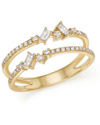 KC Designs - 14k Yellow Gold Mosaic Diamond Double Bar Ring - Lyst
