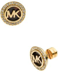 Michael Kors - Monogram Tortoise-print & Pave Stud Earrings - Lyst