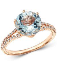 Bloomingdale's - Aquamarine & Diamond Ring In 14k Rose Gold - Lyst