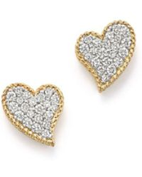 Roberto Coin - 18k Yellow Gold Tiny Treasures Diamond Heart Stud Earrings - Lyst